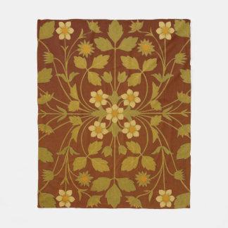 Vintages Blatt-und Blumen-Brown-Entwurfs-Muster Fleecedecke