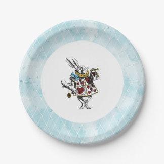 Vintages blaues Alice im Wunderland-Kaninchen Pappteller 17,8 Cm