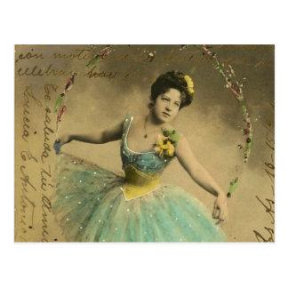 Vintages blaues Ballerina-Fee-Einklebebuch Postkarte
