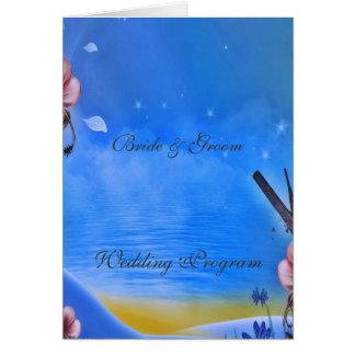Vintages blaues Hochzeits-Programm Karte