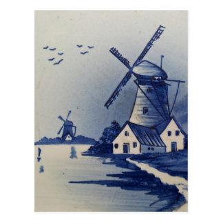 Vintages blaues und weißes Delft Postkarte