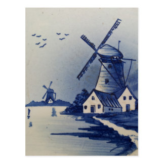 Vintages blaues und weißes Delft Postkarten