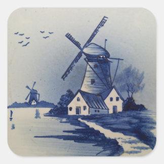 Vintages blaues und weißes Delft Quadrataufkleber