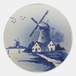 Vintages blaues und weißes Delft Runder Aufkleber