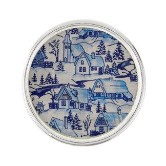 Vintages blaues Weihnachtsfeiertags-Dorf Anstecknadel