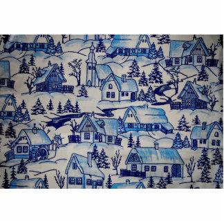 Vintages blaues Weihnachtsfeiertags-Dorf Fotoskulptur Button