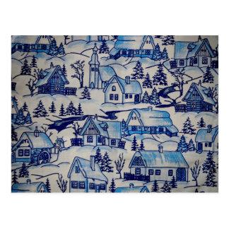 Vintages blaues Weihnachtsfeiertags-Dorf Postkarte