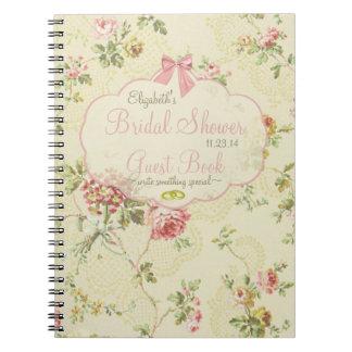 Vintages Blumen-Brautduschen-Gast-Buch Spiral Notizbuch