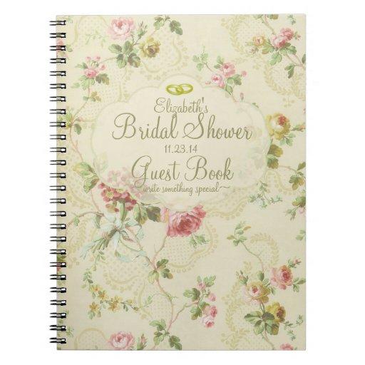 Vintages Blumen-Brautduschen-Gast-Buch Notizbücher