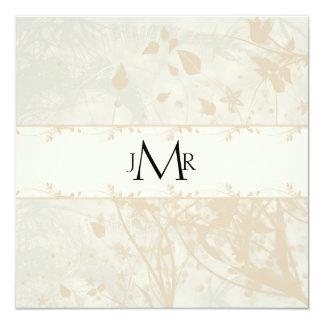 Vintages Blumen im Elfenbein-Hochzeits-Jahrestag Quadratische 13,3 Cm Einladungskarte