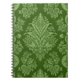 Vintages Blumen in den glänzenden grünen Schatten Notizblock