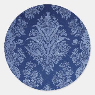 Vintages Blumen in den Schatten des Blaus Runder Aufkleber