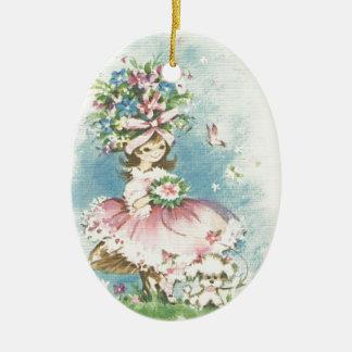 Vintages Blumen-Mädchen Ovales Keramik Ornament
