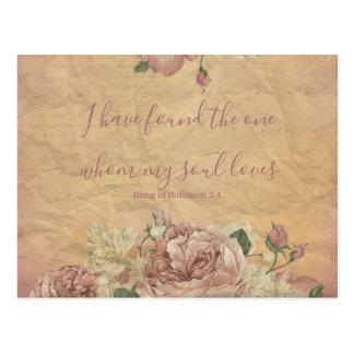 Vintages Blumen Save the Date Postkarte