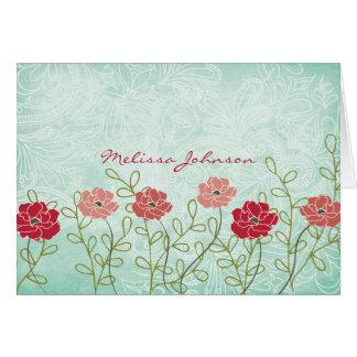 Vintages Blumen- und Blätter personalisiertes Karte
