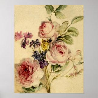 Vintages Blumen vom 18. Jahrhundert Poster