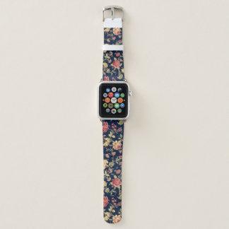 Vintages Blumenblau Apple Watch Armband