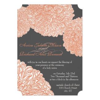 Vintages Blumenchrysantheme-Grau und Pfirsich