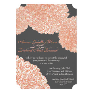 Vintages Blumenchrysantheme-Grau und Pfirsich Personalisierte Einladungskarte