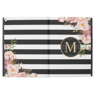 Vintages BlumengoldGirly Schwarz-weiße Streifen