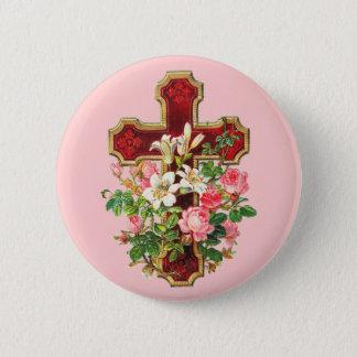 Vintages Blumenkreuz Runder Button 5,7 Cm