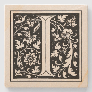 Vintages Blumenmonogramm ` I' Steinuntersetzer