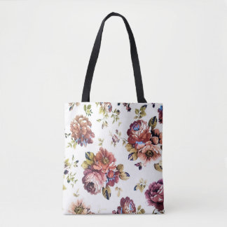 Vintages Blumenmuster ganz vorbei - drucken Sie Tasche
