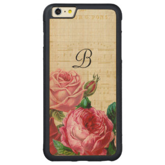 Vintages BlumenRosen-Monogramm Carved® Maple iPhone 6 Plus Bumper Hülle