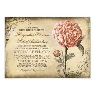 Vintages botanisches Blumen - rosa 12,7 X 17,8 Cm Einladungskarte