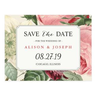 Vintages botanisches Blumenwedding Save the Date Postkarte