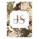 Vintages braunes beige Blumen und Vögel Monogramm Visitenkarten