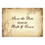 Vintages braunes beige Rolleblatt Save the Date Visitenkarte