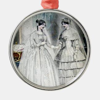 Vintages Braut-Hochzeits-Kleid Silbernes Ornament