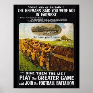 Vintages britisches Bataillon des Fußball-WW1 Poster