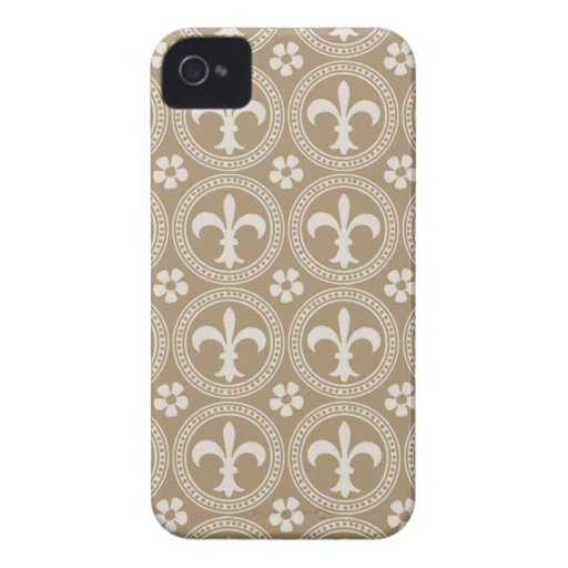 Vintages Brown und weiße Fleur Delis Case-Mate iPhone 4 Hülle