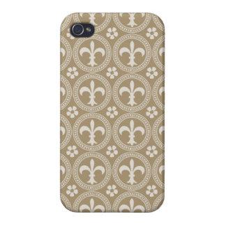 Vintages Brown und weiße Fleur Delis iPhone 4 Schutzhülle