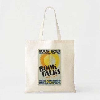 """Vintages """"Buch spricht"""" Taschen-Tasche Tragetasche"""