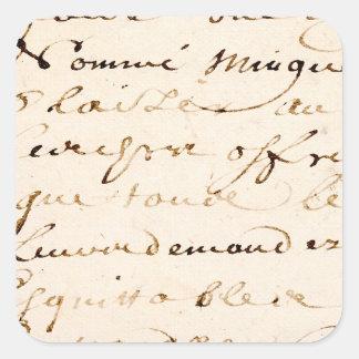 Vintages Buchstabe-Skript-Pergament TANs Quadratischer Aufkleber