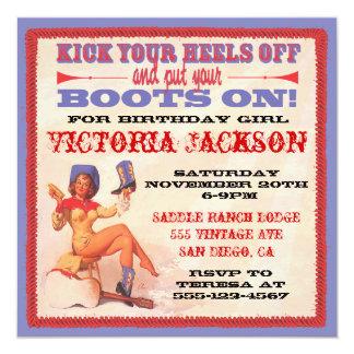 Vintages Button herauf Rockabilly Cowgirl-Party Quadratische 13,3 Cm Einladungskarte
