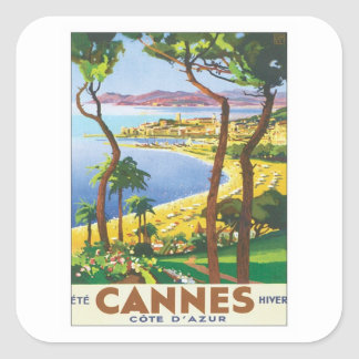 Vintages Cannes Cote d'Azur Quadratischer Aufkleber