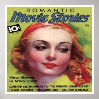 Vintages Carolelombard-Film-Geschichten-Mag Poster