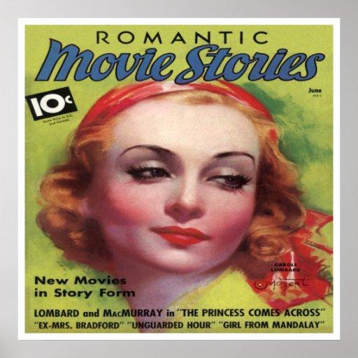 Vintages Carolelombard-Film-Geschichten-Mag Posterdruck