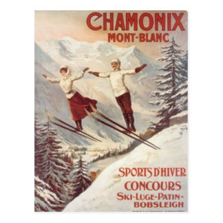 Vintages Chamonix, der Montblanc, Frankreich - Postkarte