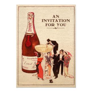 Vintages Champagne-Cocktail-Party-formale 12,7 X 17,8 Cm Einladungskarte