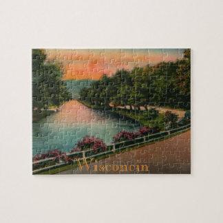 Vintages Chetek Fluss-Wisconsin-Puzzlespiel Puzzle