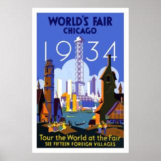 Vintages Chicago-Weltmesse-Reise-Plakat 1934 Poster