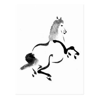 Vintages chinesisches Pferd, Schwarzweiss Postkarte