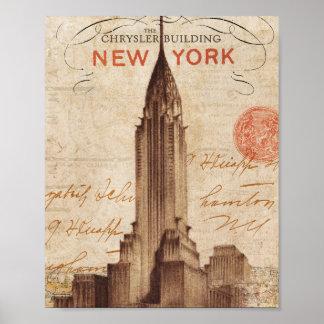Vintages Chrysler-Gebäude in New York Poster