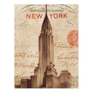 Vintages Chrysler-Gebäude in New York Postkarte