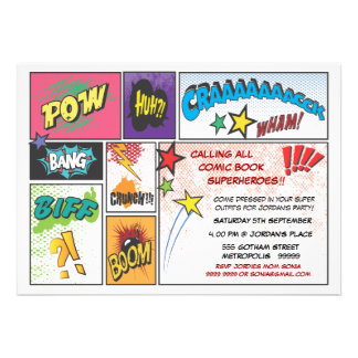 Vintages Comic-Buch-Streifen-Superheld-Party laden Einladung